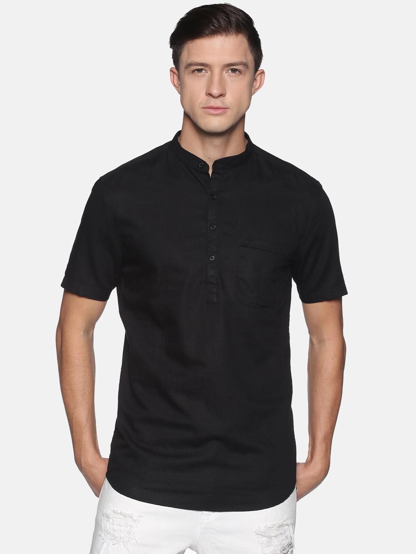 Showoff | SHOWOFF Men's  Lenin Casual Black Solid Slim Fit Kurta