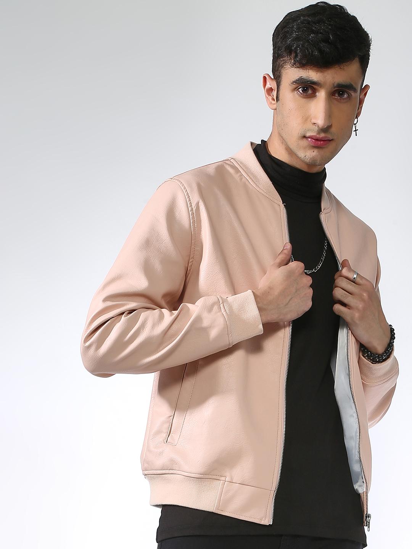 Blue Saint | Blue Saint Men's Pink Regular Fit Leather Jackets