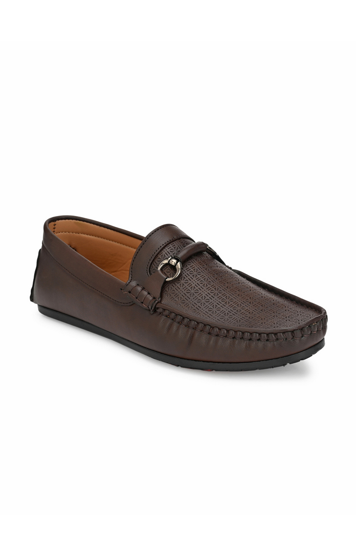 Guava | Guava Texture Embossed 360 Flexible Slip-on Driving Loafer Shoes - Brown