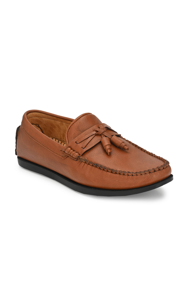 Guava | Guava Taselled 360 Flexible Slip-on Driving Loafer Shoes - Tan
