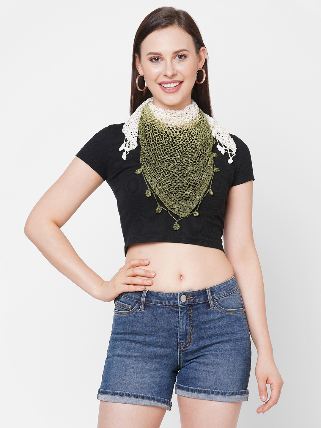 Get Wrapped   Get Wrapped Viscose Hand Made Shaded Crochet Triangle Scarf For Women