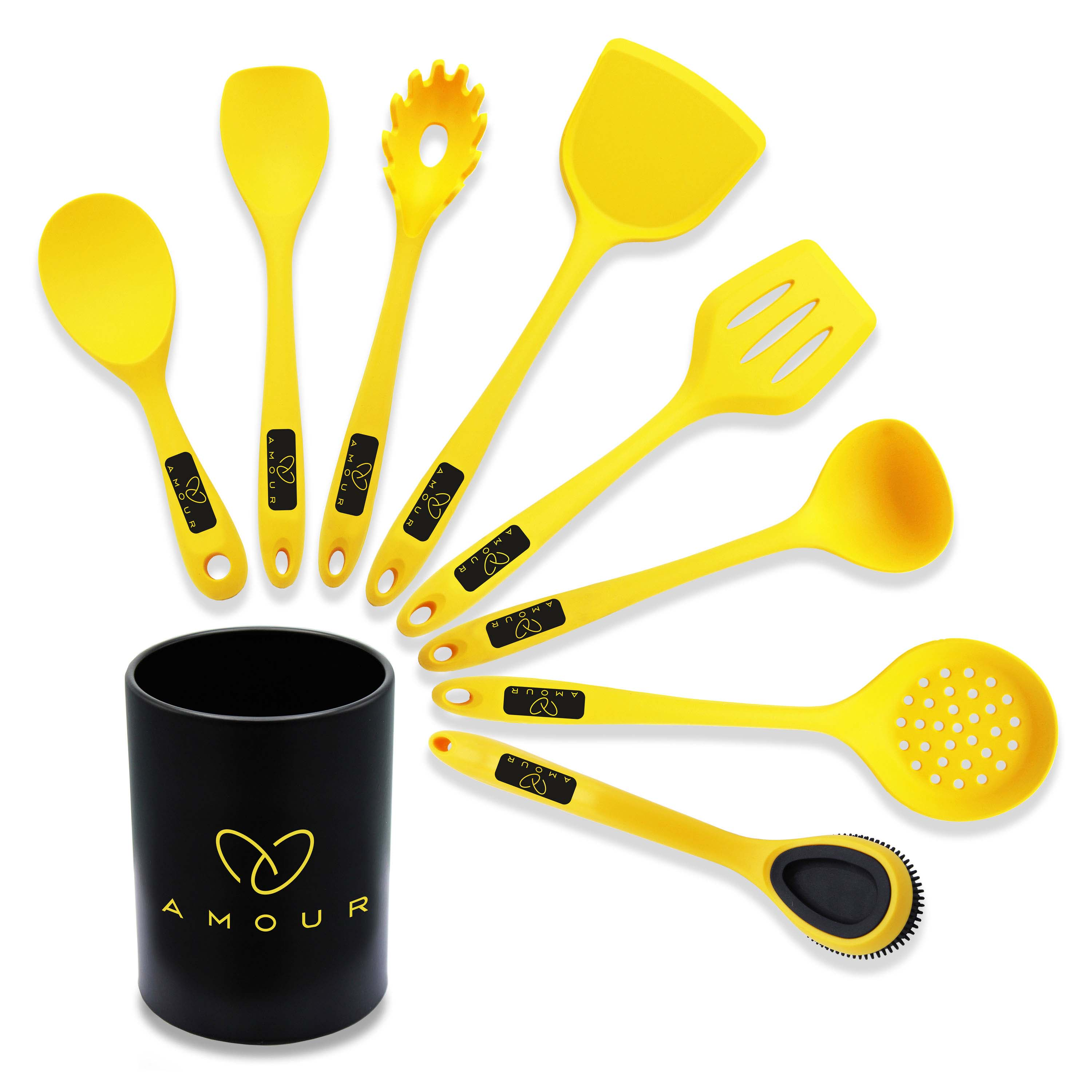 Amour | Amour Ultra Premium Silicon Kitchen Utensil 9 Piece Set, Silicone Cooking Utensil Set, Kitchen Gadgets Cookware Set, Best Gift - Kitchen Tool Set (Yellow)