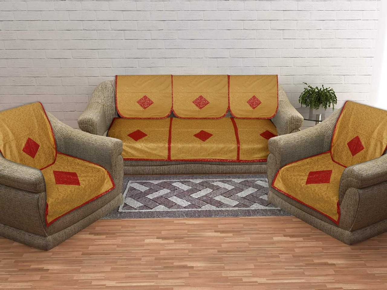 Pinkblock.in | Gold Cotton Sofa Covers