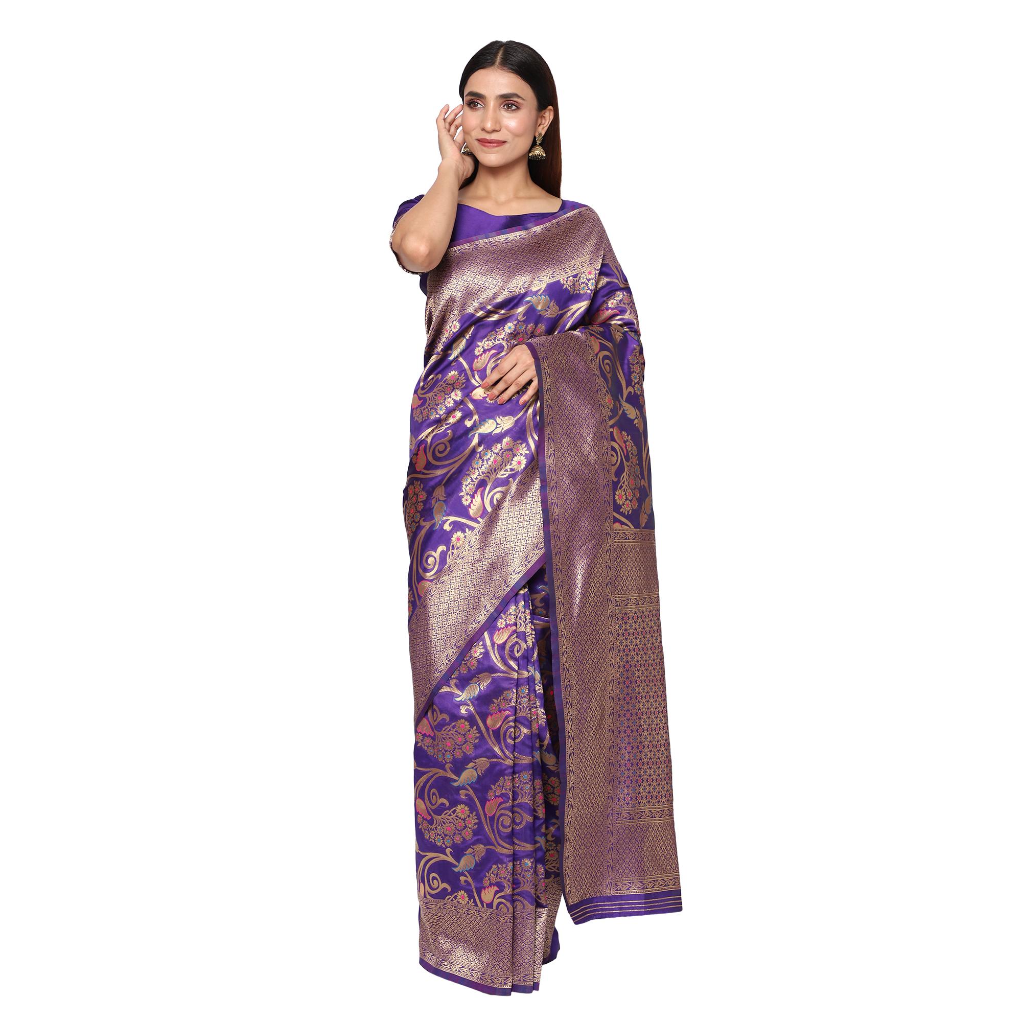 Glemora Purple Designer Ethnic Wear Silk Blend Banarasi Traditional Saree