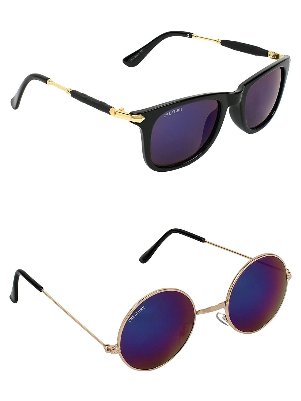 CREATURE | CREATURE Purple & Blue Round Sunglasses Combo with UV Protection (Lens-Purple & Blue|Frame-Black & Golden)