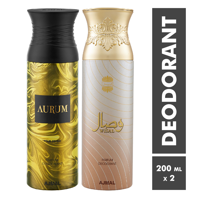 Ajmal   Aurum Femme and Wisal Deodorant Spray - Pack of 2