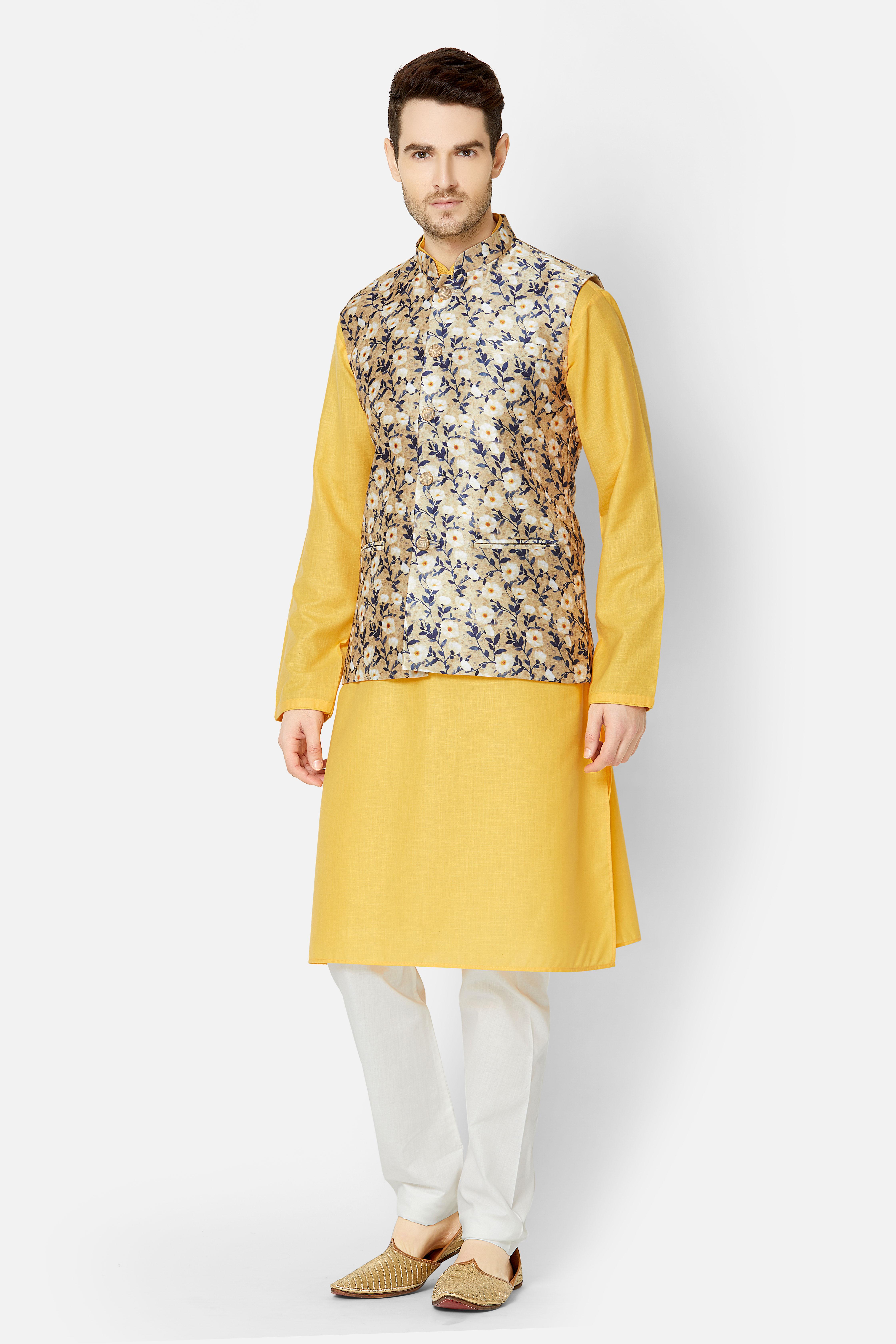 Ethnicity | Beige printed sleeveless jacket