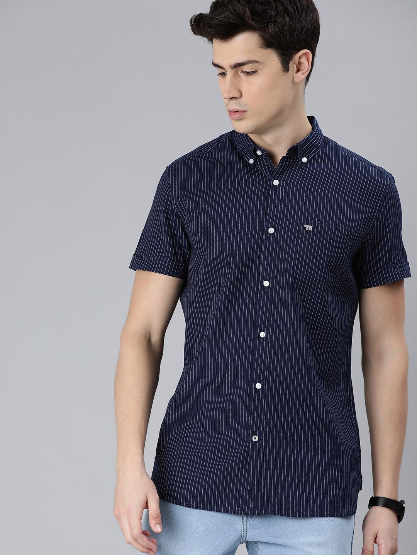The Bear House   Men's Short Sleeves Striped Shirt