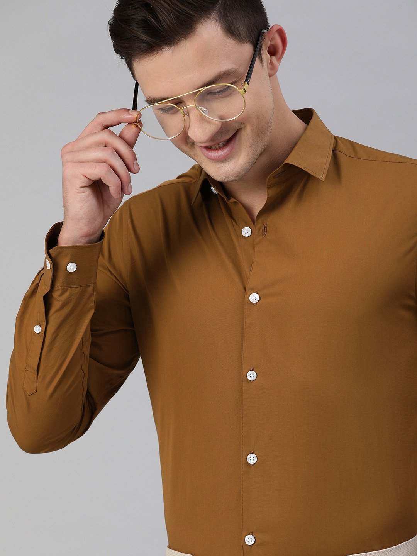 The Bear House | Men's Mustard Solid Formal Shirt