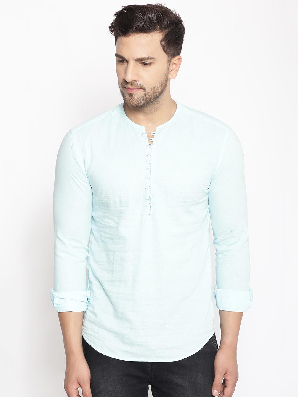 Showoff | SHOWOFF Men's  Lenin  Blue Solid Slim Fit Kurta