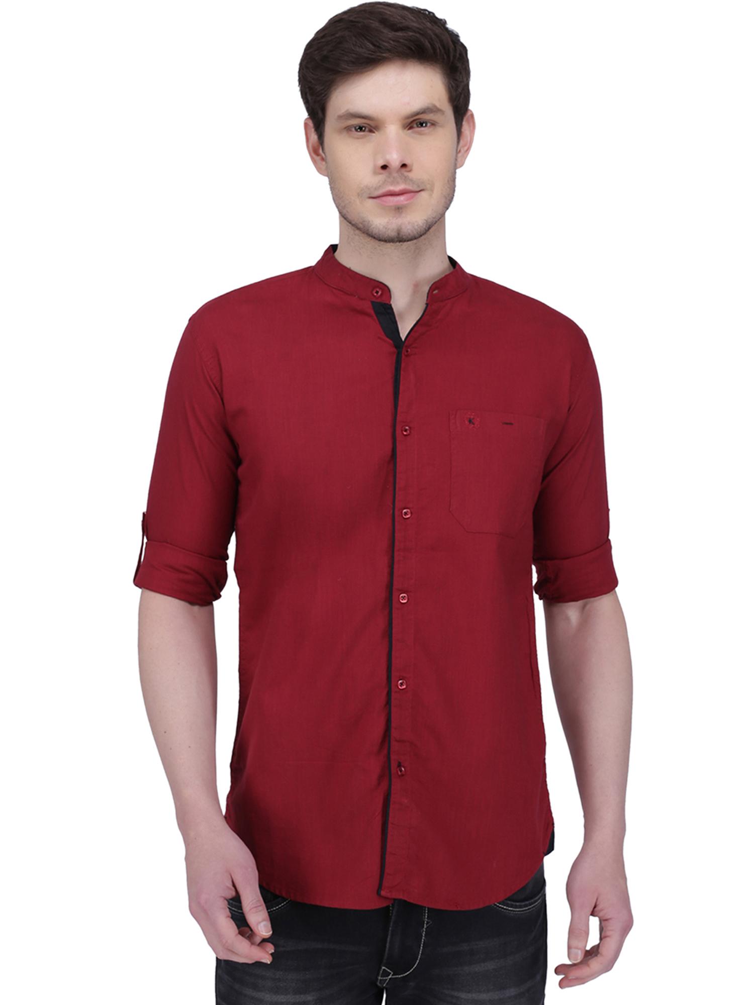 Kuons Avenue | Kuons Avenue Men's Maroon Linen Cotton Casual Shirt- KACLFS1289MA