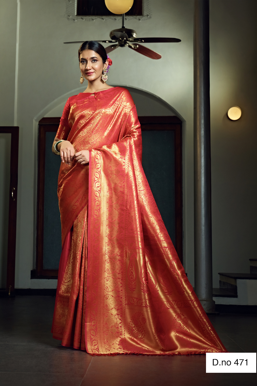 POONAM TEXTILE   Traditional Red Woven Design Raw Silk Saree