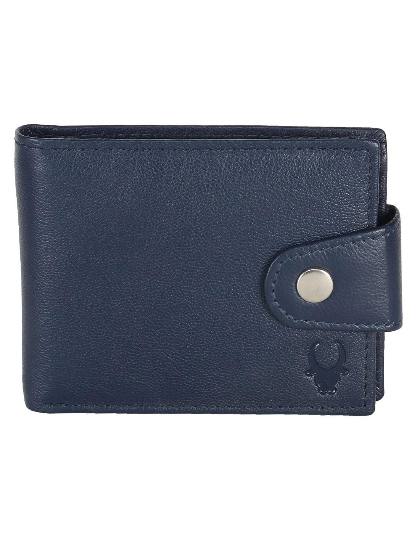 WildHorn | WildHorn RFID Protected Genuine High Quality Leather Dark Blue Wallet for Men
