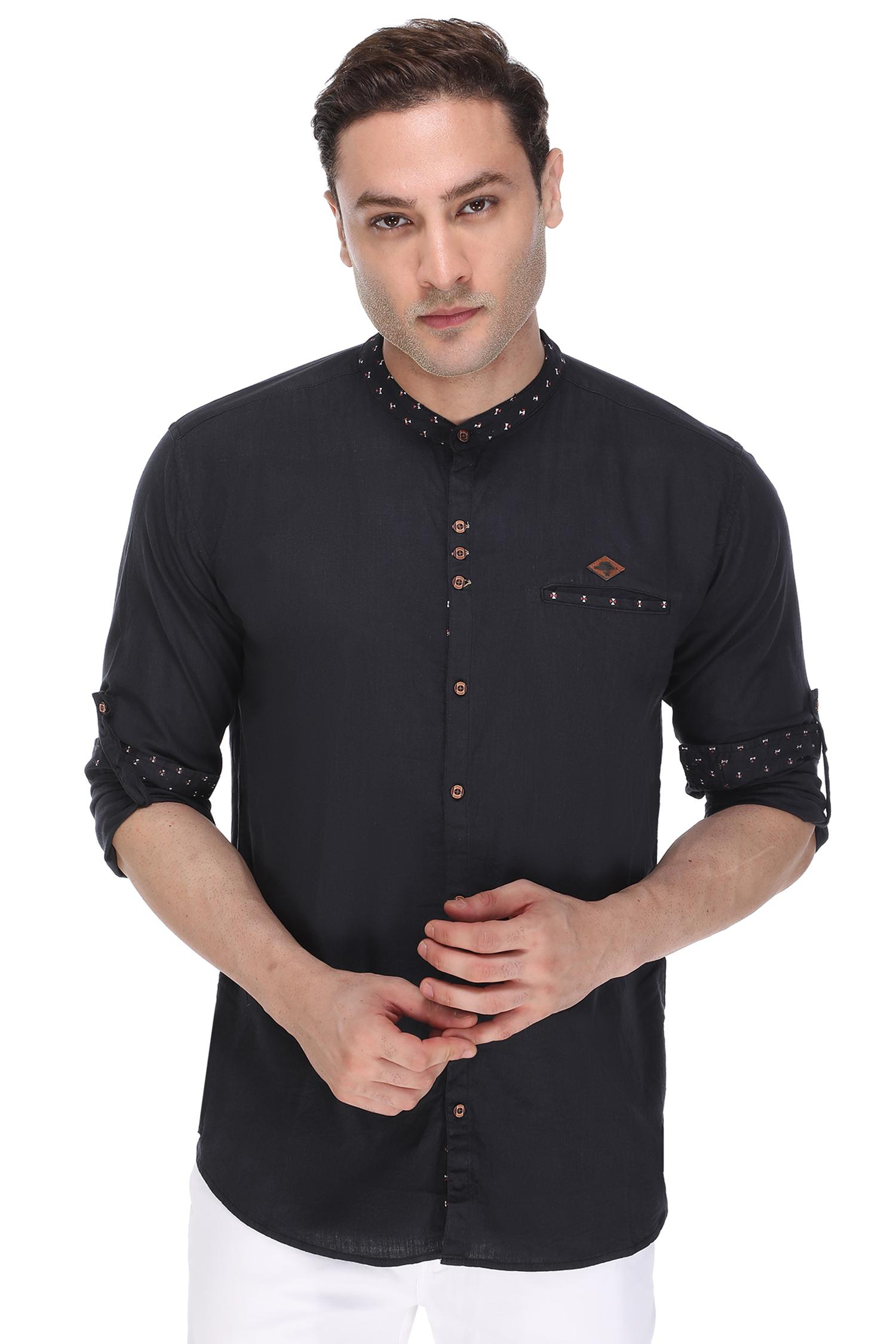 Kuons Avenue   Kuons Avenue Men's Black Linen Cotton Shirt- KACLFS1254BCK