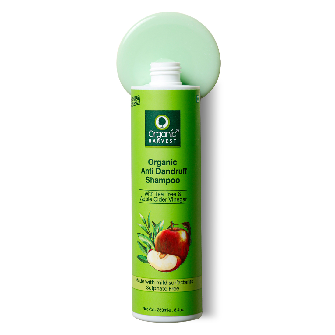 Organic Harvest | Organic Harvest Apple Cider Vinegar & Tea Tree Oil Anti Dandruff Shampoo, Sulphate And Paraben Free Shampoo, for Itchy and Dry Scalp, 250 ml