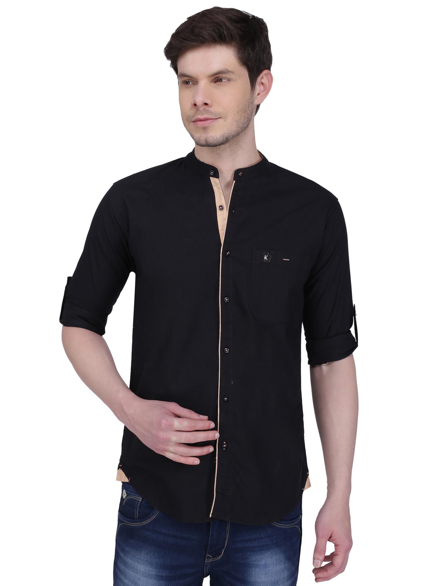 Kuons Avenue Men's Black Linen Cotton Casual Shirt- KACLFS1294BK