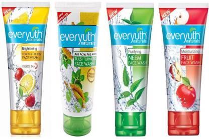Everyuth Naturals | Everyuth Naturals Moisturizing FRUIT, Brightening LEMON & CHERRY, Anti Acne & Anti Marks TULSI TURMERIC, Purifying NEEM 50g x 4 Face Wash  (200 g)