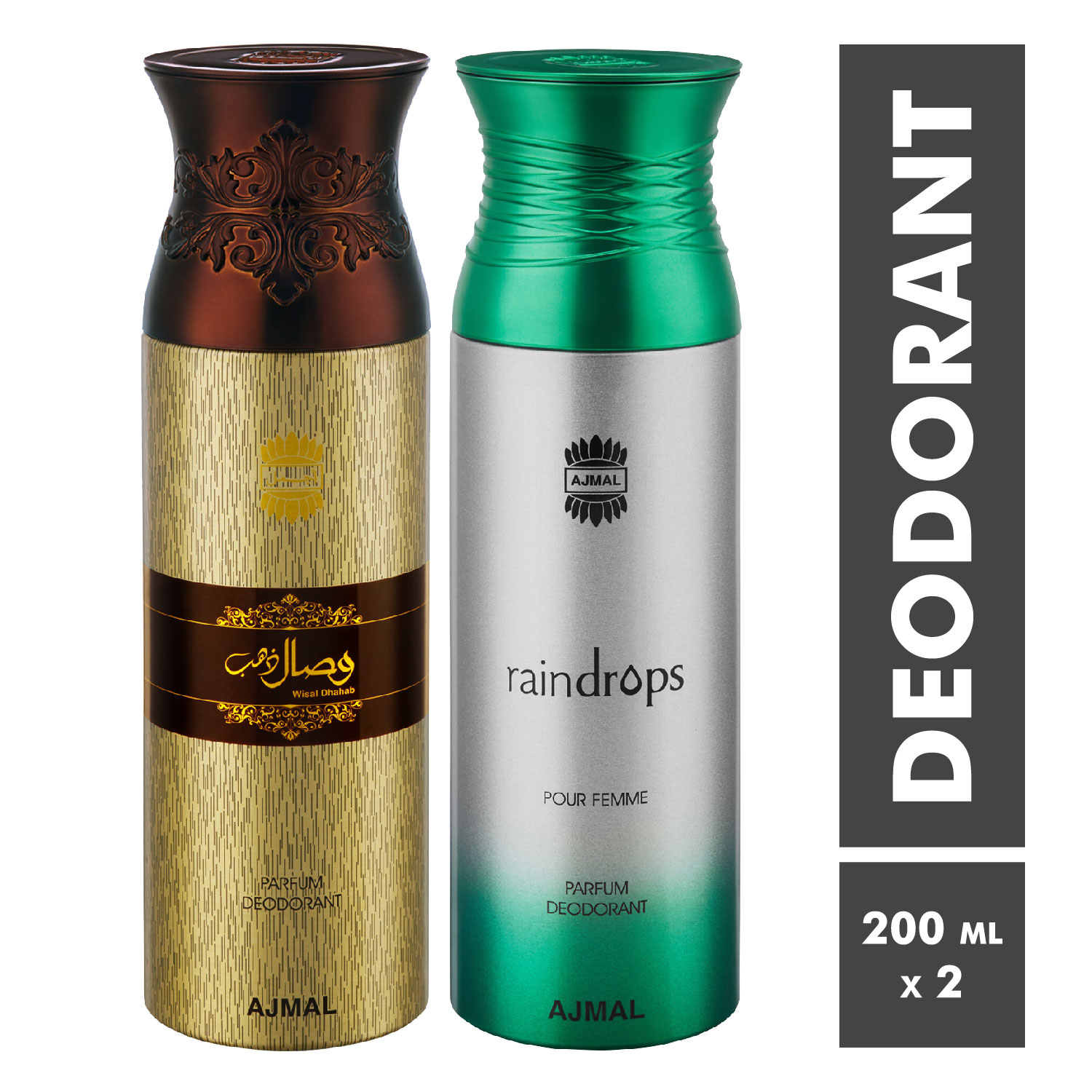 Ajmal   Wisal Dhahab and Raindrops Deodorant Spray - Pack of 2