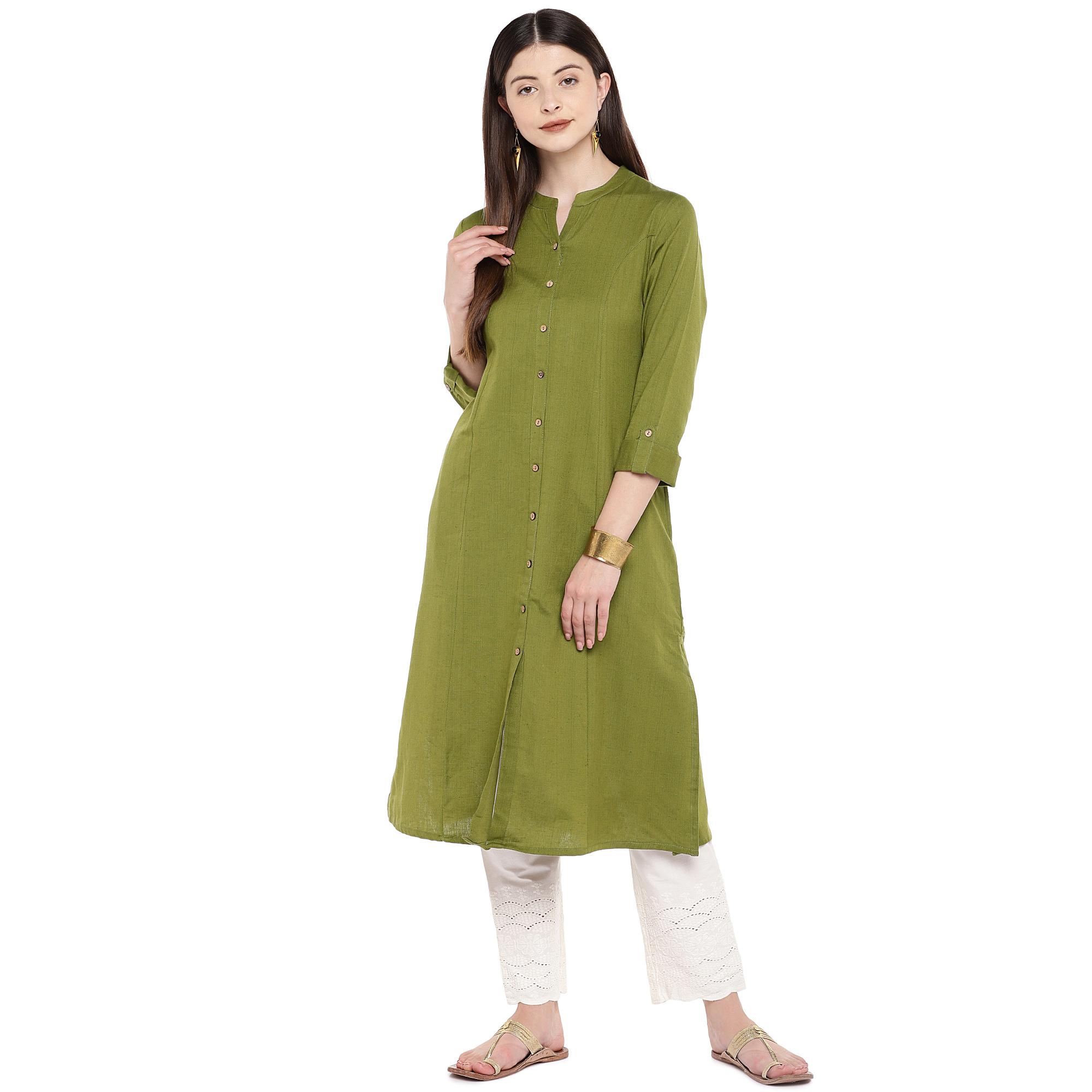 Ethnicity   Ethnicity Military Green Cotton Flax Women Kurta