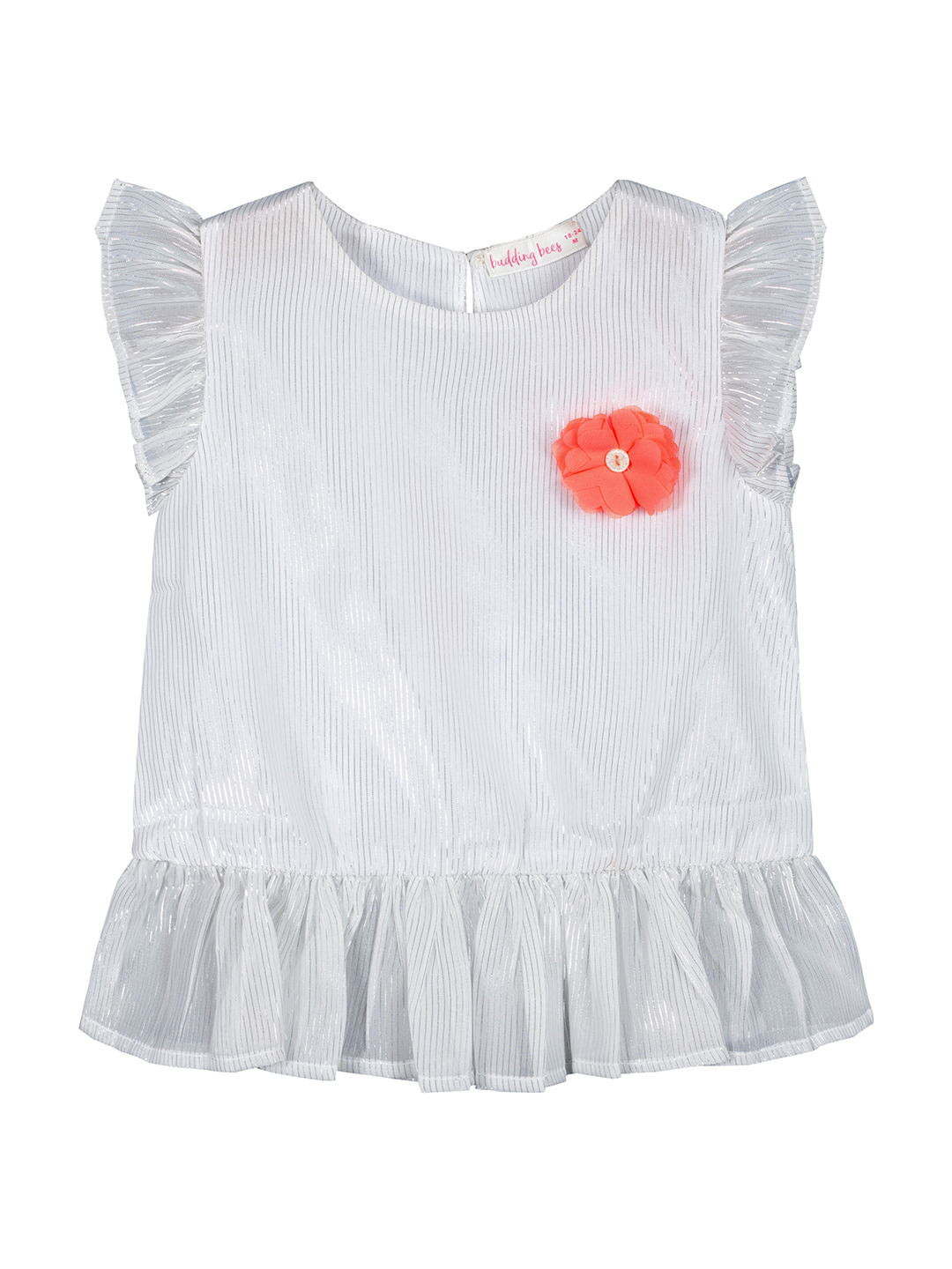 Budding Bees | Budding Bees Girls Poly Lurex Dress With Beautiful Flower-White