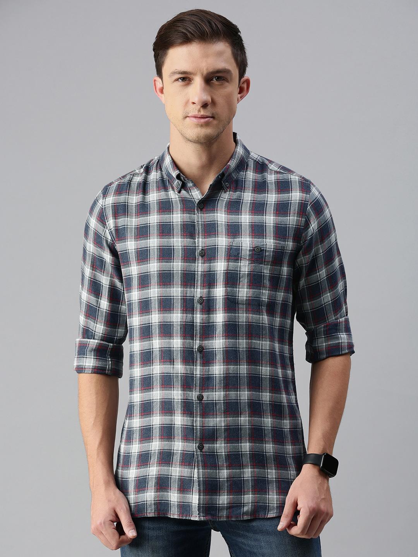 The Bear House   Men's Checkered Casual Shirt