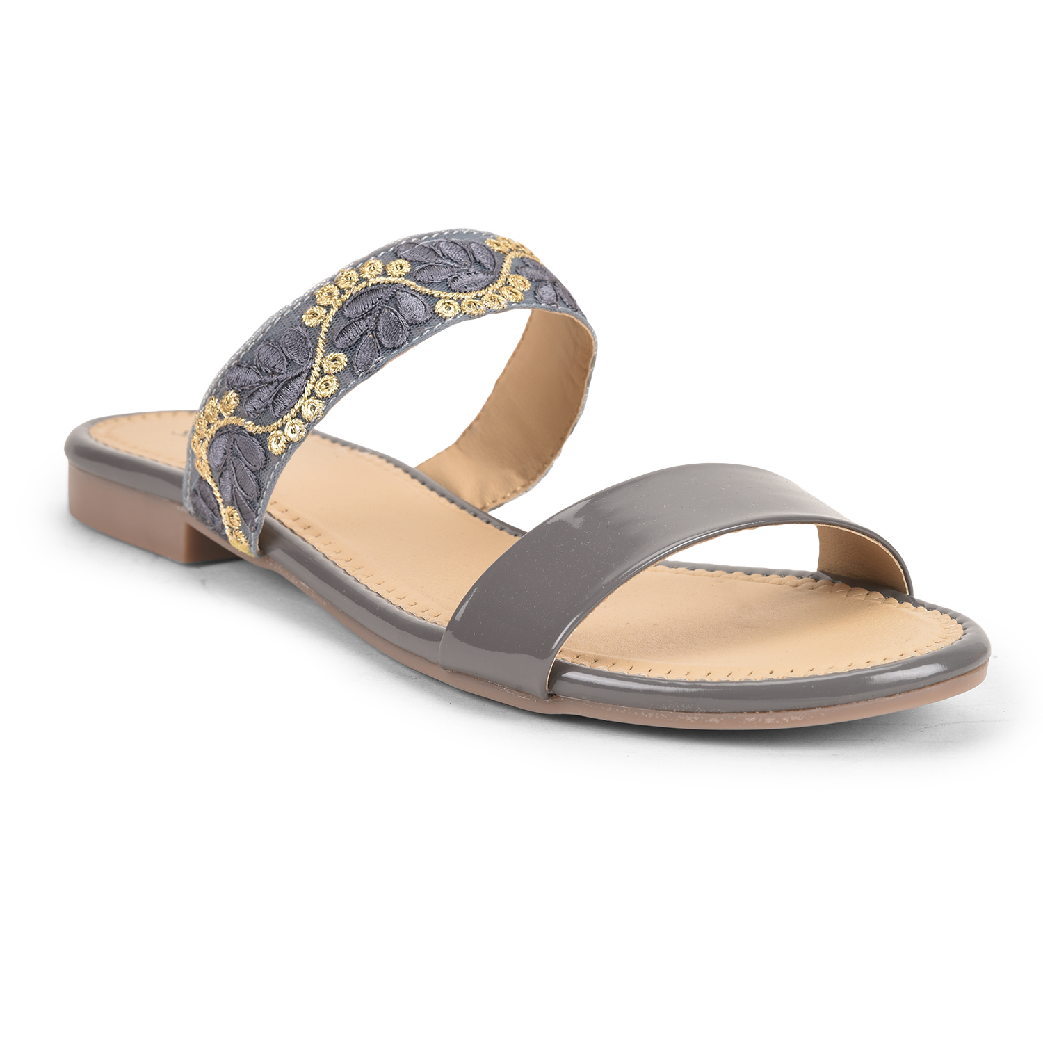 SALARIO | Salario Floral Embroidered Slip-On Flat Sandals with Straps