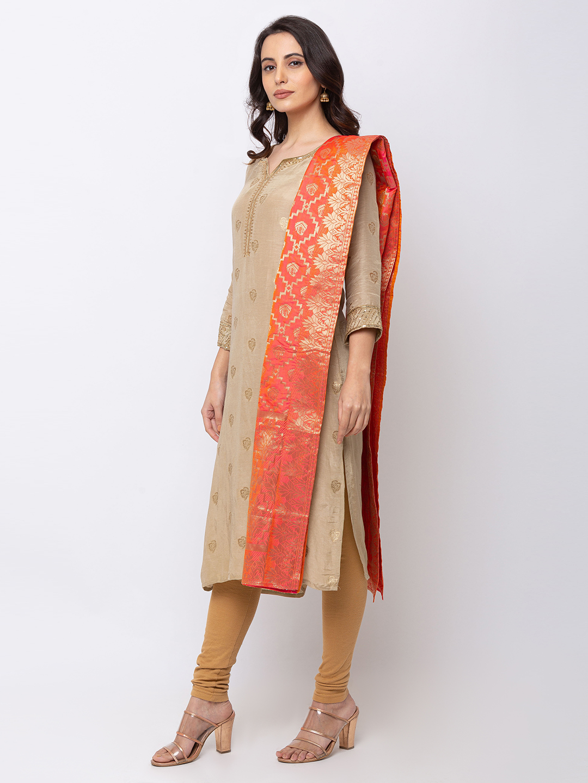 Ethnicity   Ethnicity Art Silk Straight Women Peach Dupatta