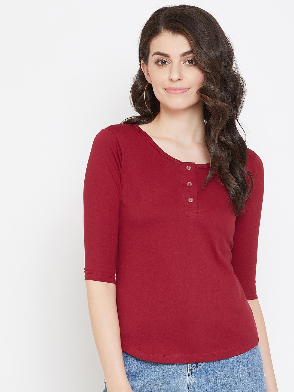 Jhankhi   Red Henley T-Shirts