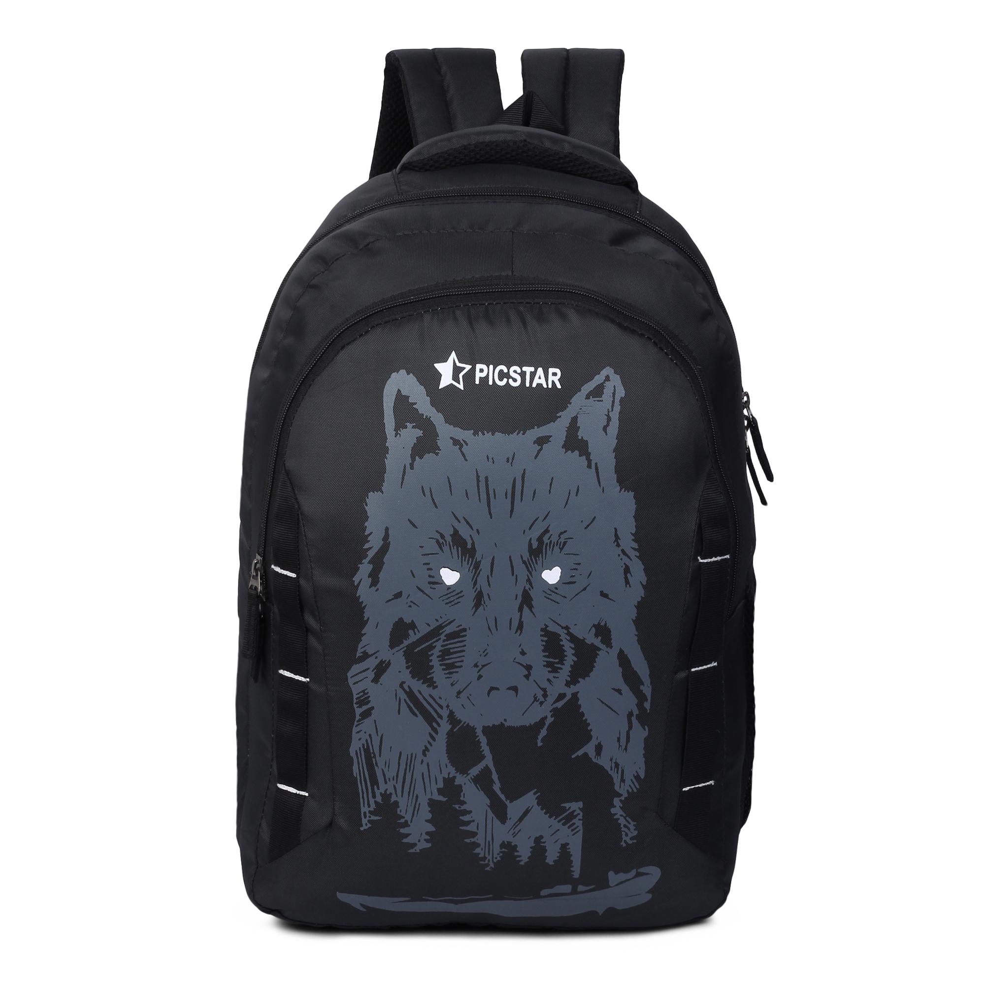 Picstar | Picstar Daredevil 35 L Black Backpack for Men and Women|Unisex Backpack|College Bag for Boys and Girls|office Backpack |School Bag|Trendy Backpack|Stylish Backpack