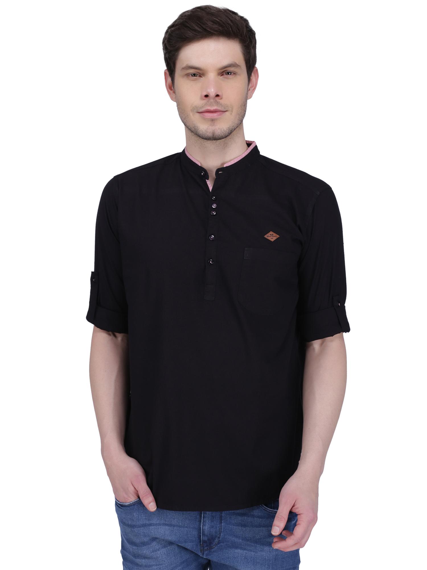 Kuons Avenue | Kuons Avenue Men's Black Linen Cotton Short Kurta- KACLFS1320BK