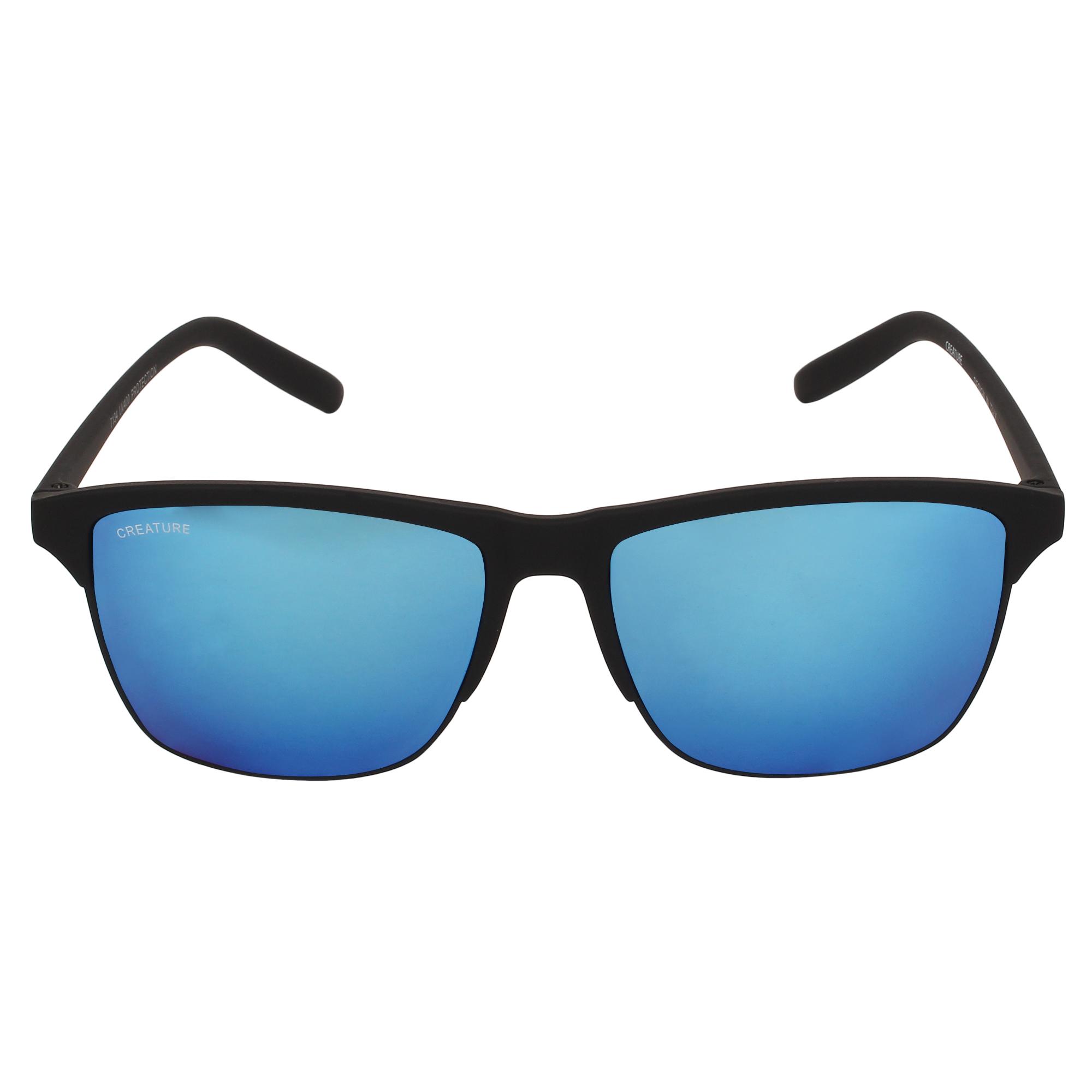 CREATURE   CREATURE Black Sunglasses with UV Protection (Lens-Purple & Blue Frame-Black)