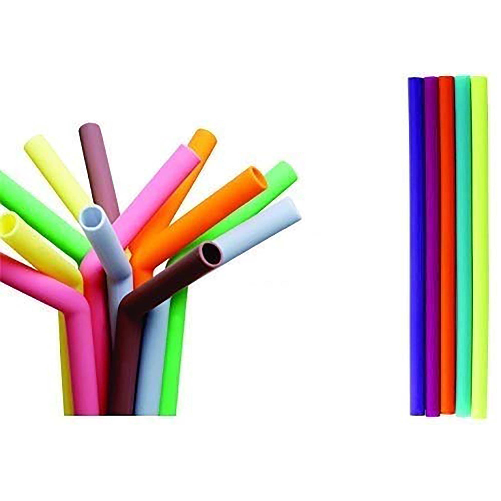 iLife | iLife Reusable Smoothie Straws Long Extra Wide Fat Silicone Straws for Drinking Bubble Tea, Milkshakes, Set of 6 with Cleaning Brush (Big+Small)