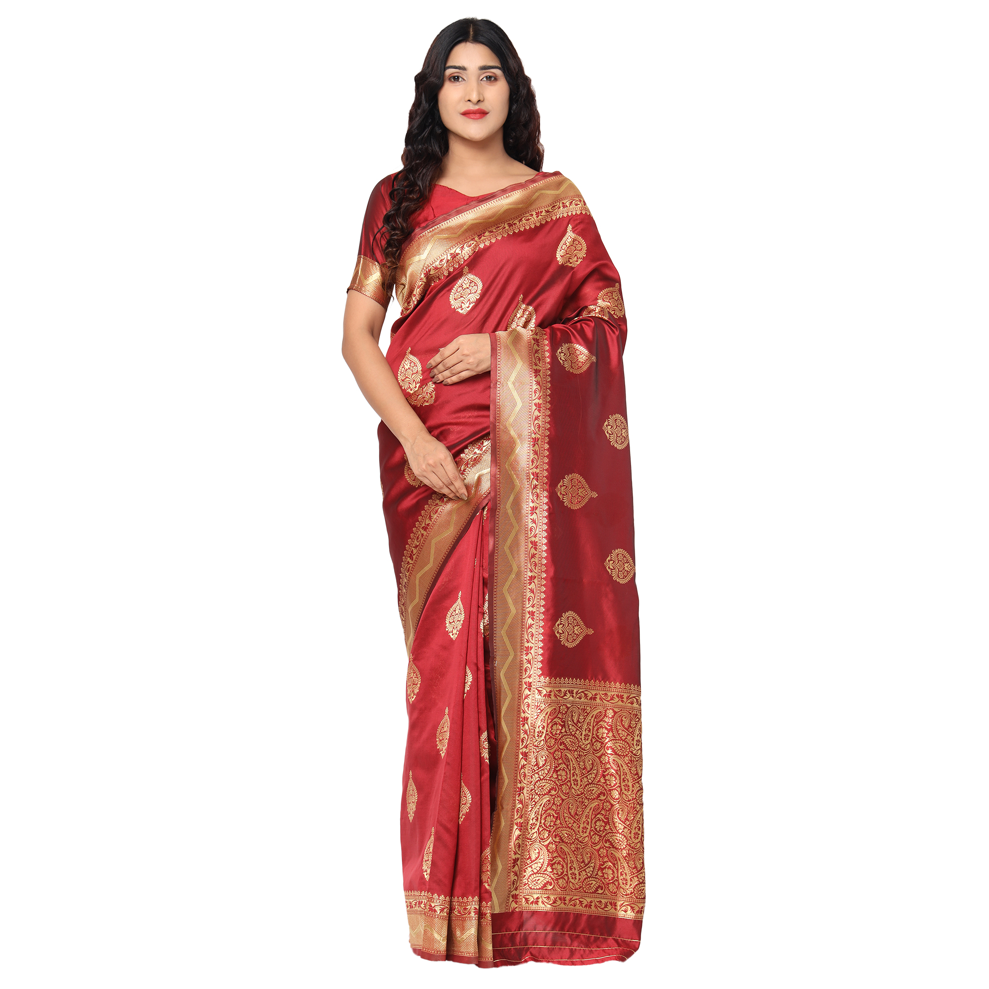 Glemora Maroon Beautiful Ethnic Wear Silk Blend Banarasi Traditional Saree
