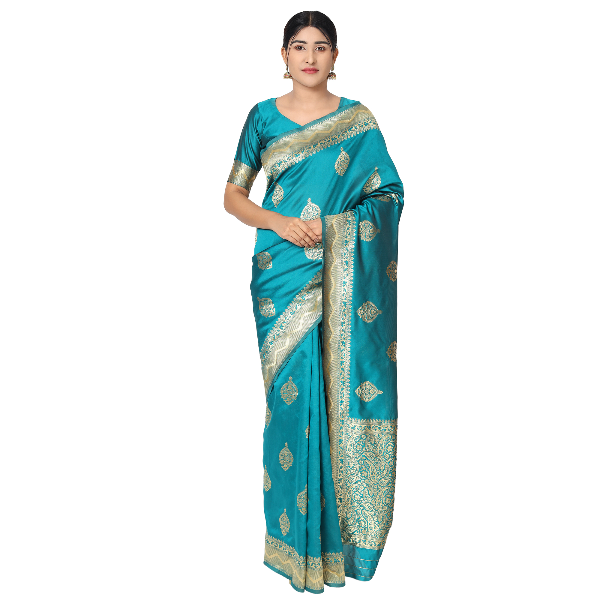 Glemora | Glemora Rama Beautiful Ethnic Wear Silk Blend Banarasi Traditional Saree