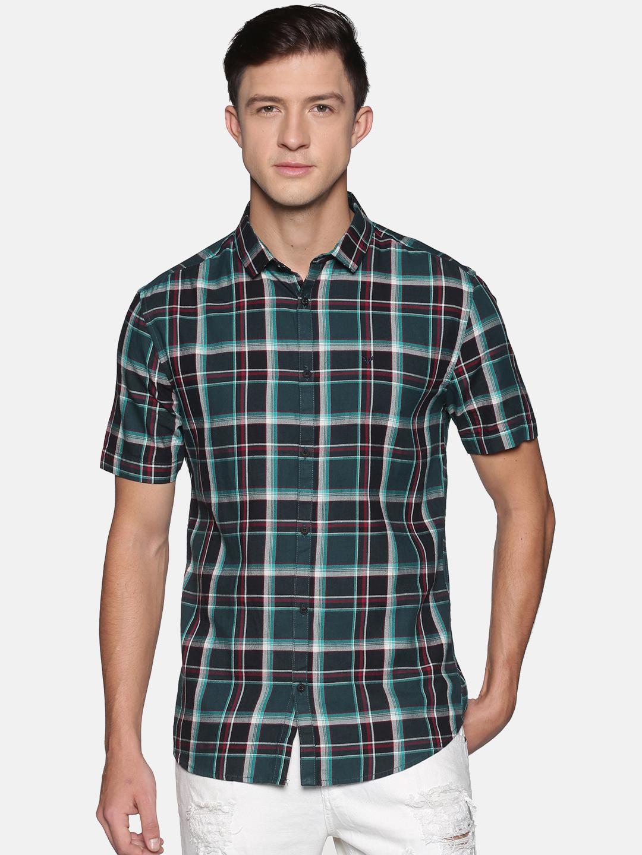 Showoff | SHOWOFF Men's  Cotton Casual Green Checks Slim Fit Shirt