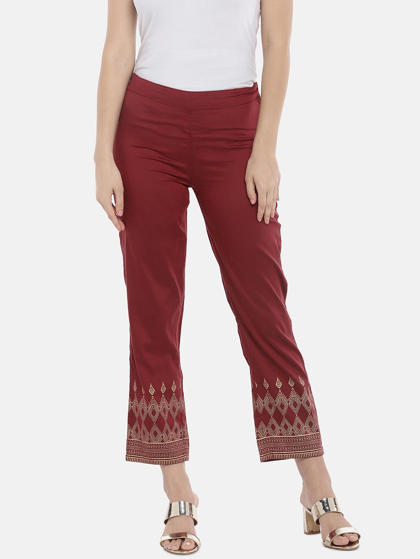 Ethnicity   Ethnicity Maroon Polystaple Women Pants