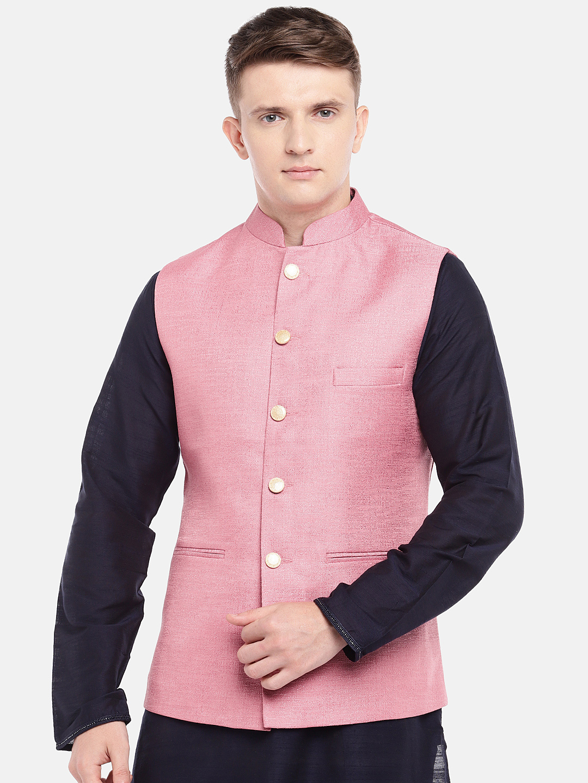 Ethnicity   Ethnicity Full Sleeve Polyester Blend Pink Men Jackets