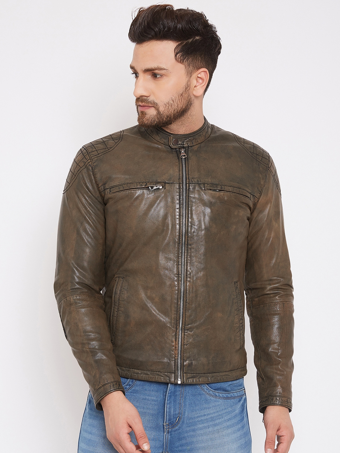 Justanned   JUSTANNED MEN GENUINE REAL LEATHER STONE WASH  JACKET