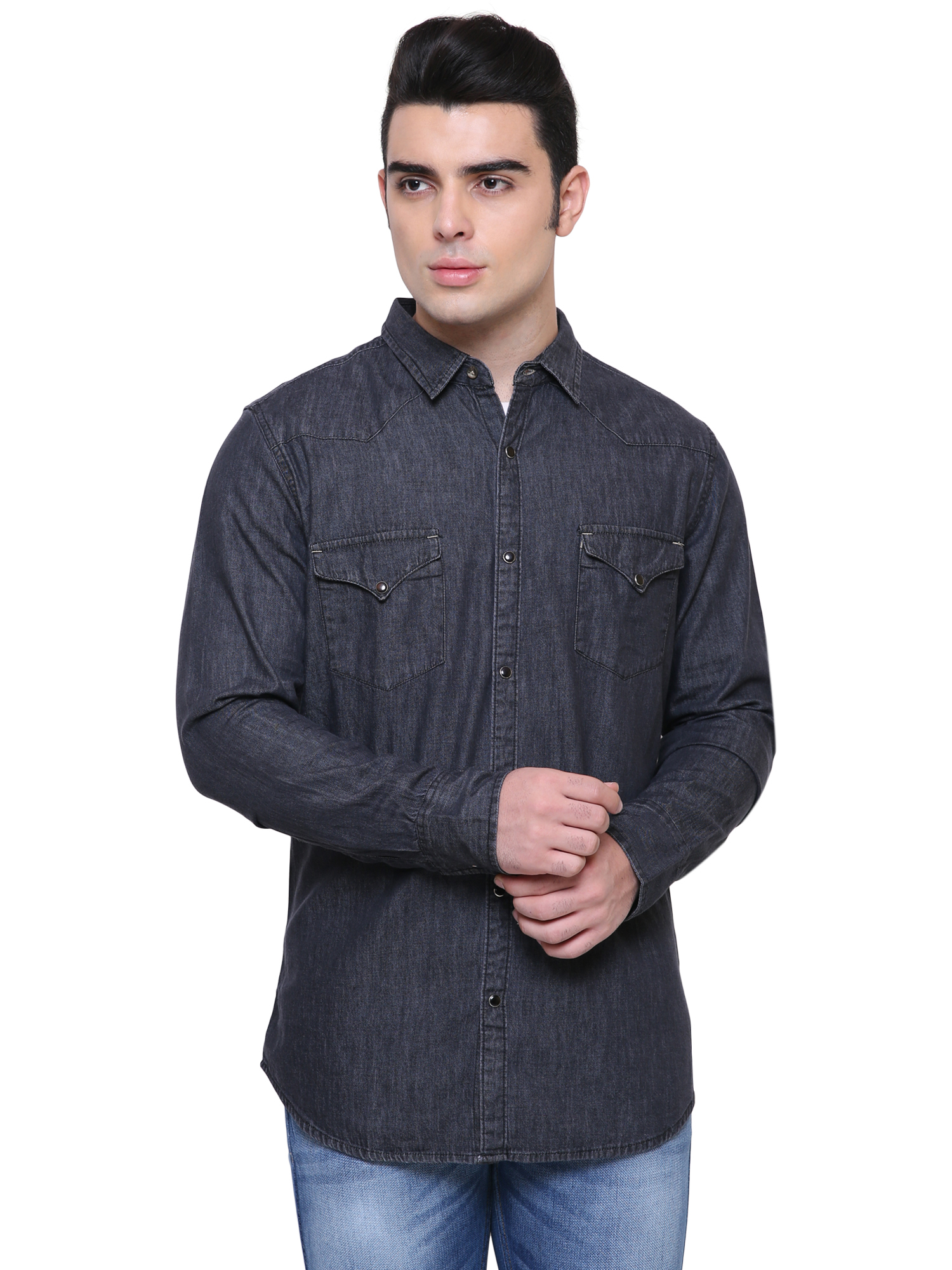 Southbay   Southbay Men's Charcoal Black Casual Denim Shirt- SBCLFS975BK