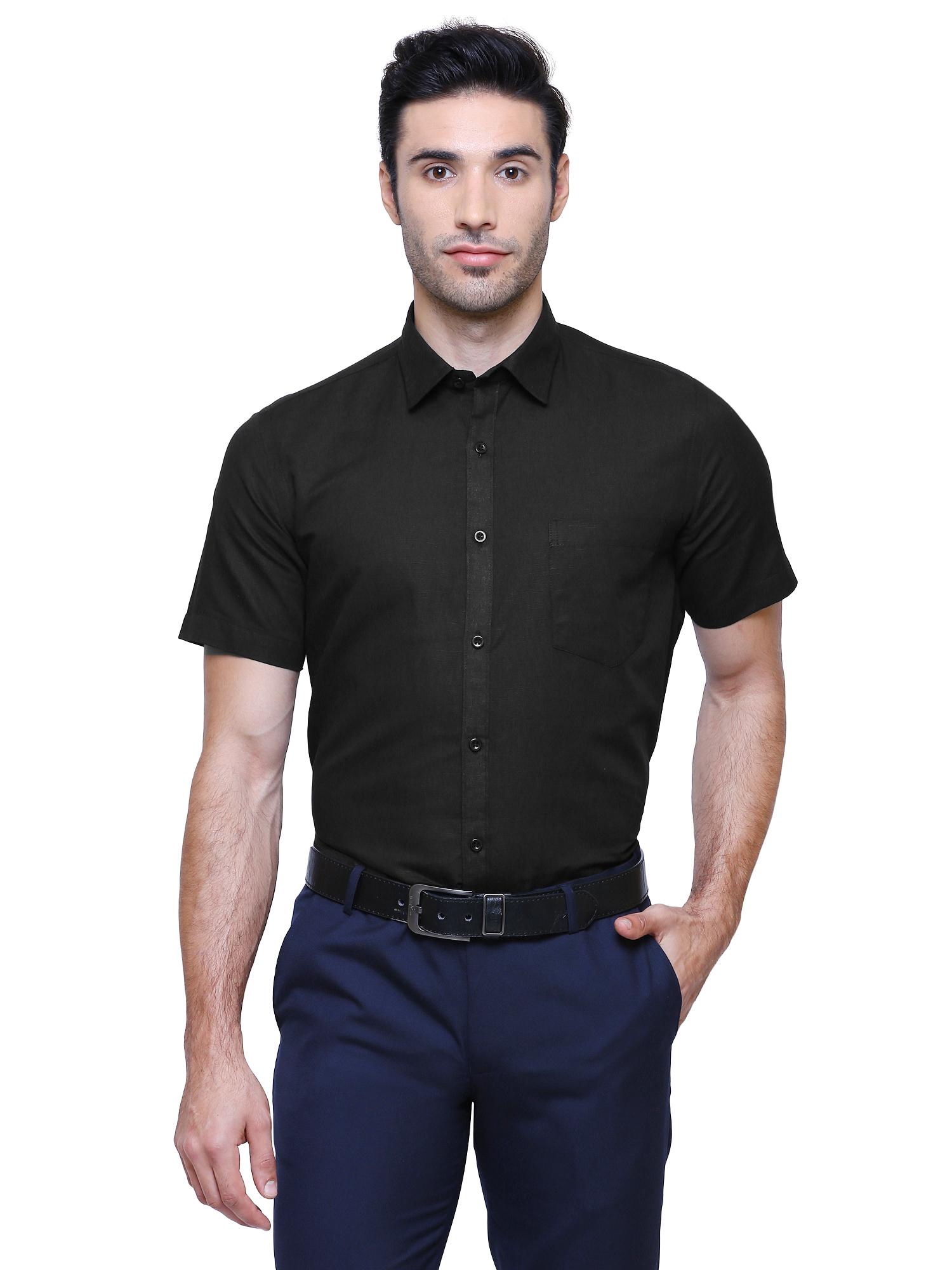 Southbay | Southbay Men's Black Half Sleeve Linen Cotton Formal Shirt-SBCLHS230BK