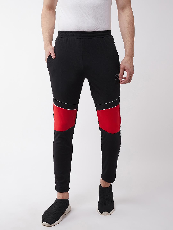 Masch Sports | Masch Sports Men's Regular Fit Black Soft Polyester Lycra Track Pants