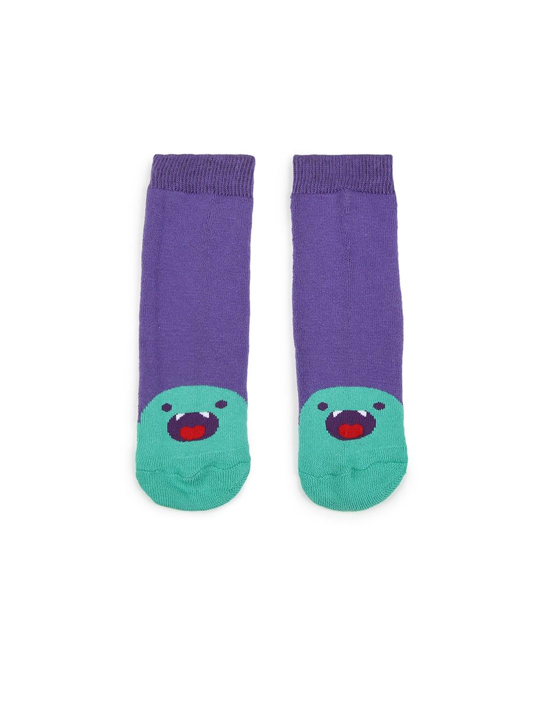 Soxytoes | Soxytoes Monster Cotton Crew Length Purple Kids Socks-Age (4-8 Years)