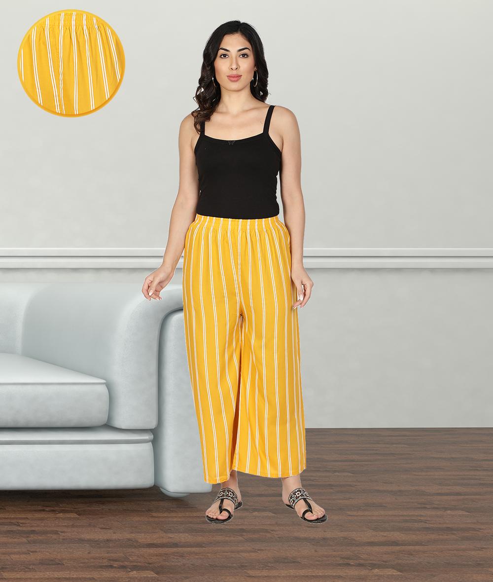 Fabclub | Fabclub Women Rayon Striped Free Size Palazzo (Mustard Yellow)