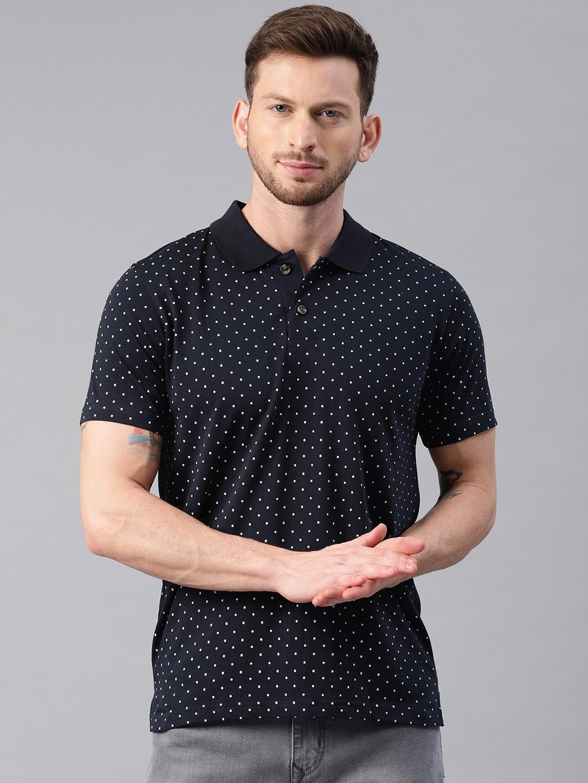 Kryptic | Kryptic Men's Polka dot printed polo tshirt in Navy base with white print