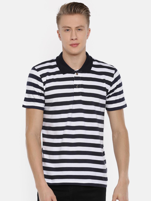 Kryptic | Kryptic Men's Stripe polo tshirt in white & navy