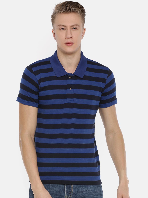 Kryptic | Kryptic Men's Stripe polo tshirt in navy & cobalt