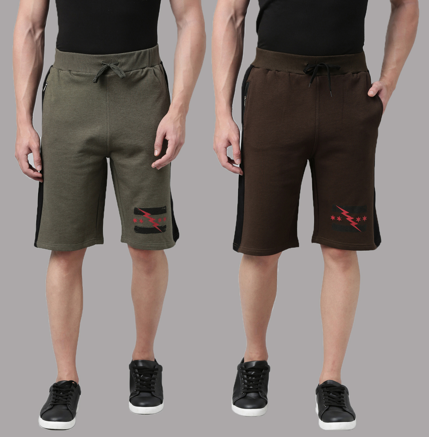 Kryptic | Kryptic Mens 100% Cotton graphic printed shorts - pack of 2