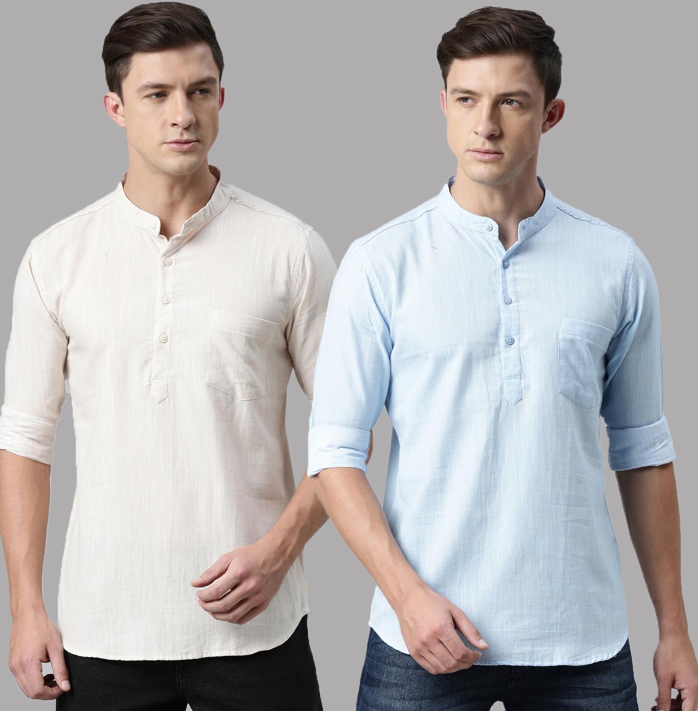 Kryptic | Kryptic Mens 100% Cotton Short kurta - pack of 2