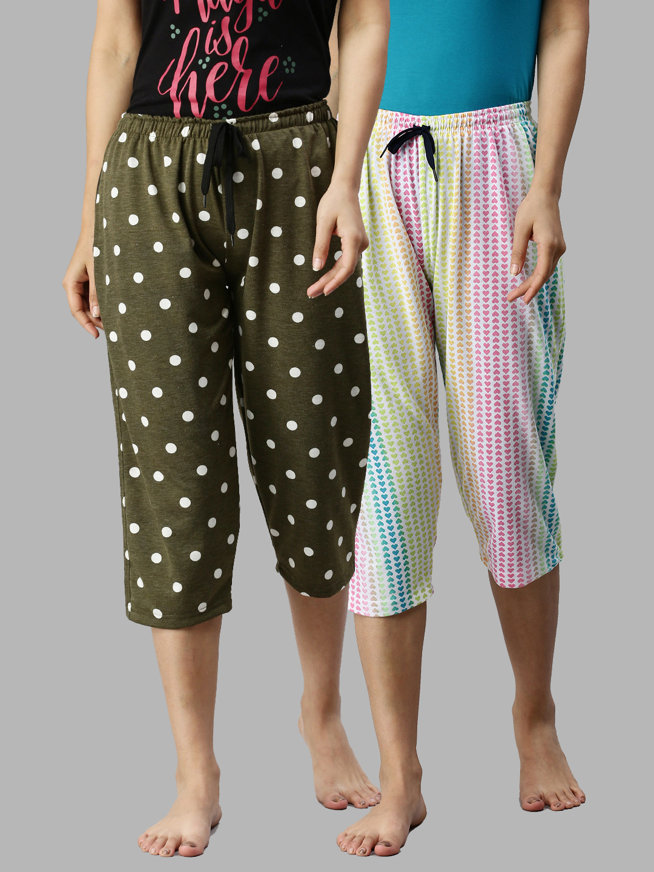 Kryptic | Kryptic Women 100%Cotton Printed Capri - Pack of 2