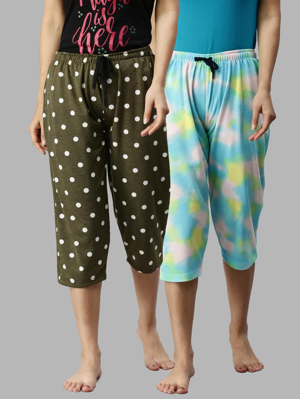 Kryptic   Kryptic Women 100%Cotton Printed Capri - Pack of 2